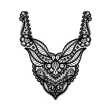 neckline: floral neckline design for fashion. Flowers and leaves neck print. Chest lace embellishment. Ethnic indian ornament