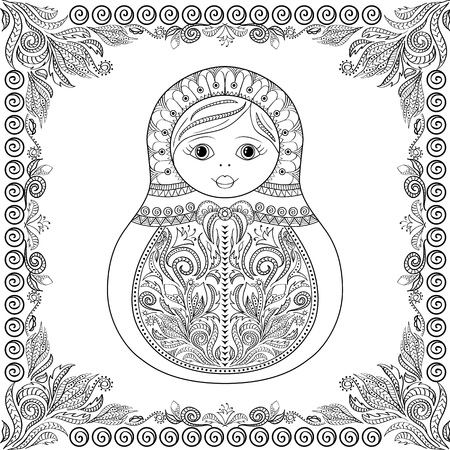 matrioshka: coloring book for adult and kids - russian matrioshka doll. Hand drawn with floral and ethnic ornaments. Page for relax and meditation with floral frame
