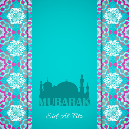 feast: greeting card to Ramadan and Feast of Breaking the Fast. Greeting background with text Eid Al Fitr and muslim symbols