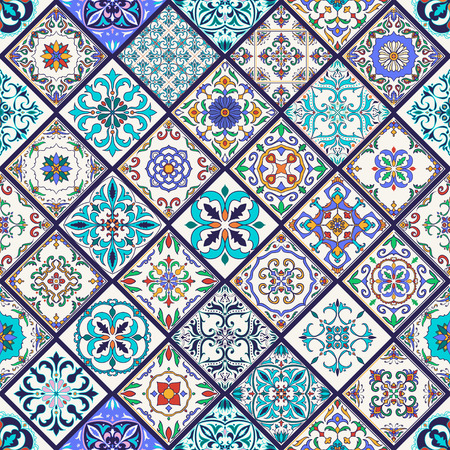 seamless texture. Beautiful mega patchwork pattern for design and fashion with decorative elements. Set of Portuguese tiles, Azulejo, Talavera, Moroccan ornaments Illustration