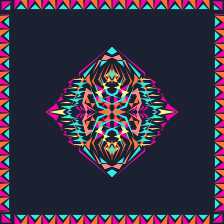 electro: tribal decorative pattern in frame. Aztec ornamental style. Electro boho color trend. Ethnic native American Indian ornaments Illustration