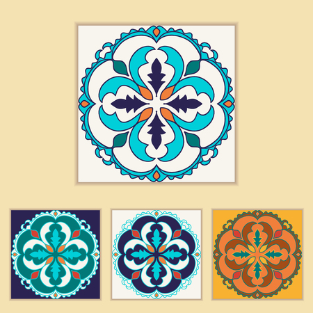 Portuguese tile design in four different color. Beautiful colored pattern for design and fashion with decorative elements. Portuguese, Azulejo, Talavera, Moroccan ornaments in blue and orange colors
