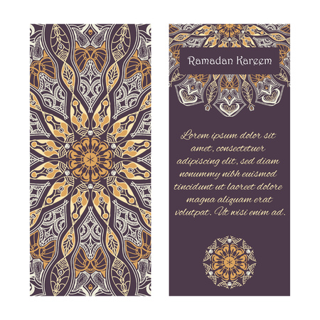 Vector set of banners to Ramadan. Greeting cards with text Ramadan Kareem and mandalas patterns