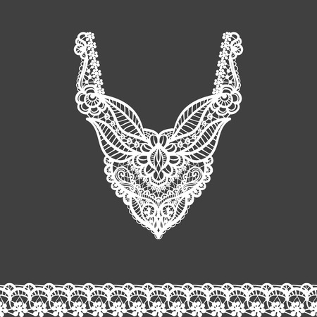 Vector floral neckline and lace border design for fashion. Flowers and leaves neck print. Chest lace embellishment. Ethnic indian ornament