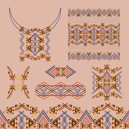neckline: Vector set of decorative elements for design and fashion in ethnic tribal style. Neckline, borders, patterns and seamless texture. Aztec ornaments
