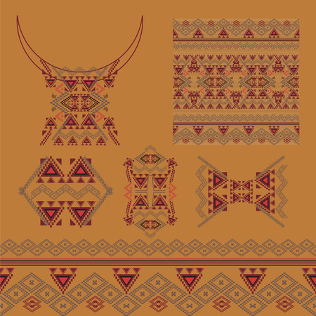 neckline: Vector set of decorative elements for design and fashion in ethnic tribal style. Neckline, border, patterns and seamless texture. Aztec ornaments