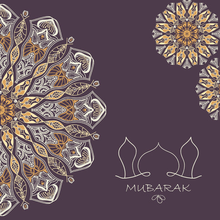 greeting card background: Vector greeting card to Ramadan and Feast of Breaking the Fast. Greeting background with text Mubarak and mandalas patterns Illustration