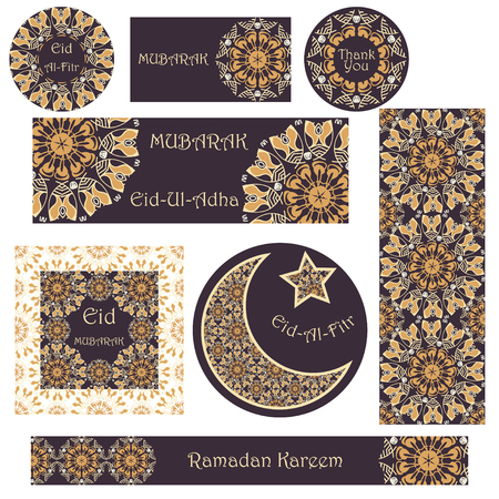 feast: Vector set of cards and banners to Ramadan and Feast of Breaking the Fast. Greeting cards with text, mandalas patterns and Muslim symbols