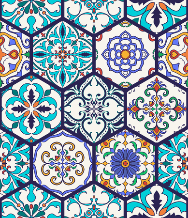 Vector seamless texture. Beautiful mega patchwork pattern for design and fashion with decorative elements. Portuguese tiles, Azulejo, Talavera, Moroccan ornaments in hexagon shapes