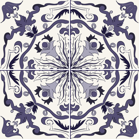tile pattern: Vector beautiful pattern for design and fashion with decorative elements. Seamless texture. Portuguese tile, Azulejo, Talavera, Moroccan ornament
