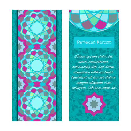 community event: Vector set of banners to Ramadan. Greeting cards with text Ramadan Kareem and mosaic patterns