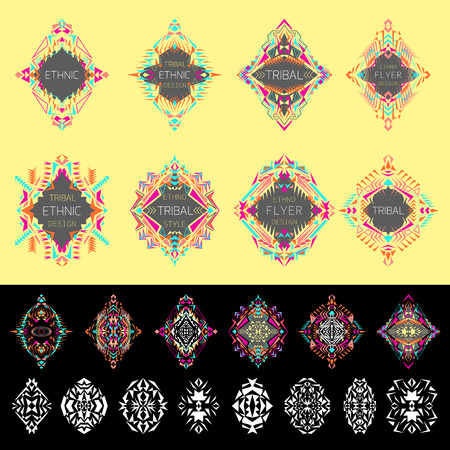 ethno: Vector set of ethno geometric patterns. Elements for design. Ethnic, tribal, aztec style. Set of labels with place for text Illustration