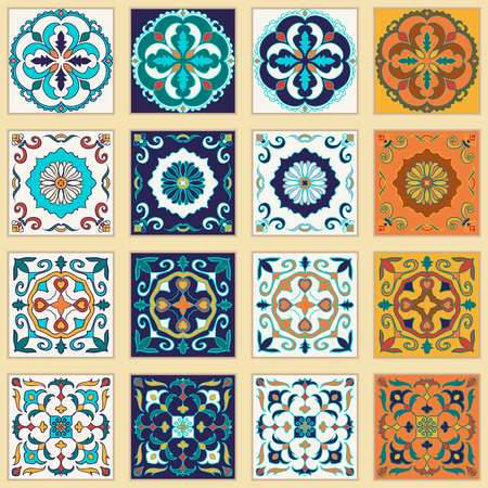 talavera: Vector set of Portuguese tiles. Beautiful colored patterns for design and fashion.  Azulejo, Talavera, Moroccan ornaments in four different color combination