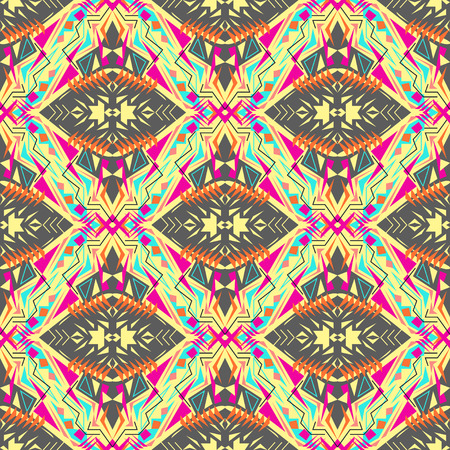 seamless texture. Tribal geometric pattern. Electro boho color trend. Aztec ornamental style. Ethnic native American Indian ornaments