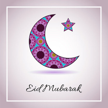 feast: Vector greeting card to Ramadan and Feast of Breaking the Fast. Greeting background with text Eid Mubarak and muslim symbols