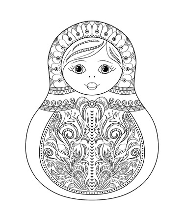 matrioska: Vector coloring book for adult and kids - russian matrioshka doll. Hand drawn zentangle with floral and ethnic ornaments. Page for relax and meditation