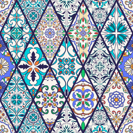 Vector seamless texture. Beautiful mega patchwork pattern for design and fashion with decorative elements. Portuguese tiles, Azulejo, Talavera, Moroccan ornaments in rhombus