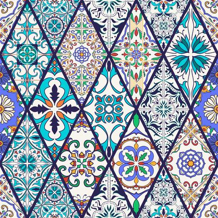 Vector seamless texture. Beautiful mega patchwork pattern for design and fashion with decorative elements. Portuguese tiles, Azulejo, Talavera, Moroccan ornaments in rhombus Banco de Imagens - 60257963