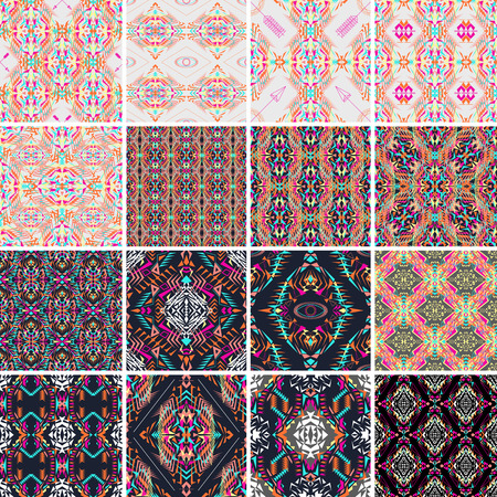 electro: Vector seamless texture. Set of tribal colorful patterns for design. Electro boho color trend. Aztec ornamental style. Ethnic native american indian ornaments Illustration