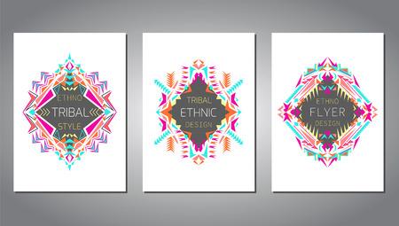 ... Von Geometrischen Bunten Broschüre Vorlagen Für Business Und Einladung.  Ethnische, Tribal, Aztekische Stil. A4 Layout Format. Moderne Ethno Ikat  Muster