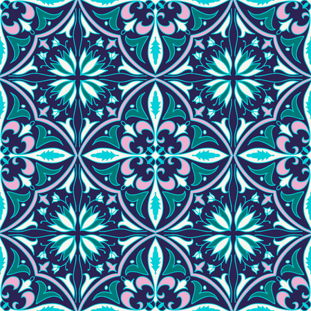 tile background: Vector seamless texture. Beautiful colored pattern for design and fashion with decorative elements. Portuguese tiles, Azulejo, Talavera, Moroccan ornaments Illustration