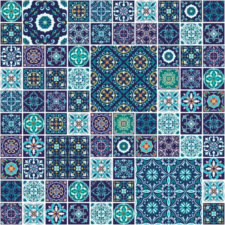 Vector seamless texture. Beautiful mega patchwork pattern for design and fashion with decorative elements. Portuguese tiles, Azulejo, Talavera, Moroccan ornaments