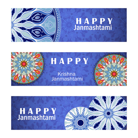 mahabharata: Vector set of invitation cards or vertical banners to Krishna Janmashtami. Greeting backgrounds with text and mandalas patterns
