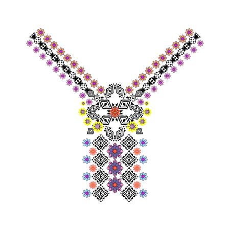Vector décolleté et de la frontière avec l'ornement ethnique et floral. style bohème moderne. Fleurs et motifs tribaux géométriques