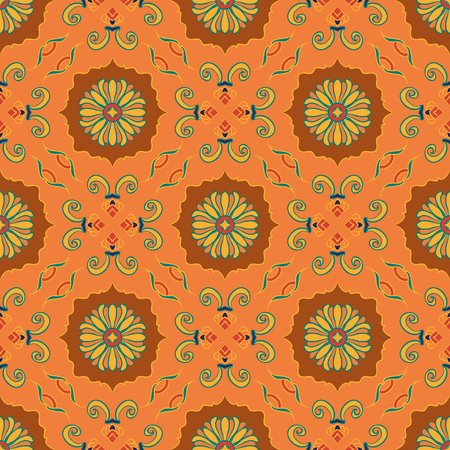 azulejos: Vector seamless texture. Beautiful colored pattern for design and fashion with decorative elements. Portuguese tiles, Azulejo, Talavera, Moroccan ornaments Illustration