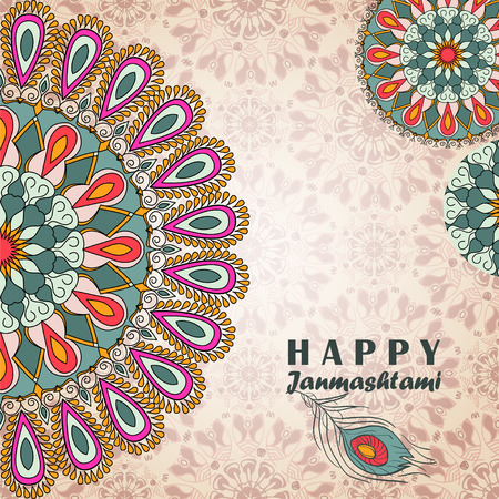 Vektor-Grußkarte zu Janmashtami. Gratulation Hintergrund mit Text, Pfauenfeder und Mandalas Muster