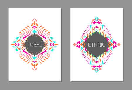 Vector set of geometric colorful brochure templates for business and invitation. Ethnic, tribal, aztec style. A4 layout format. Modern ethno ikat pattern