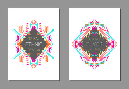 ethno: Vector set of geometric colorful brochure templates for business and invitation. Ethnic, tribal, aztec style. A4 layout format. Modern ethno ikat pattern