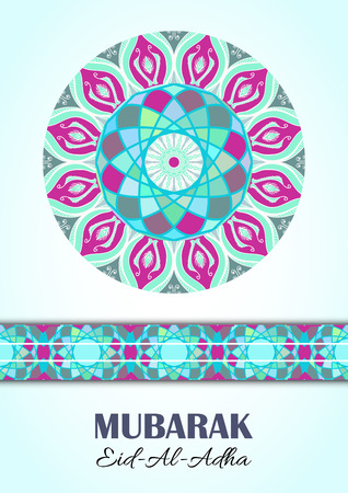 sacrifice: Vector greeting card to Feast of the Sacrifice (Eid-Al-Adha). Congratulations background with text and mosaic mandalas patterns. A4 format