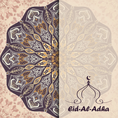 sacrifice: Vector greeting card to Feast of the Sacrifice (Eid-Al-Adha). Congratulations background with text, muslim symbols and mandalas patterns