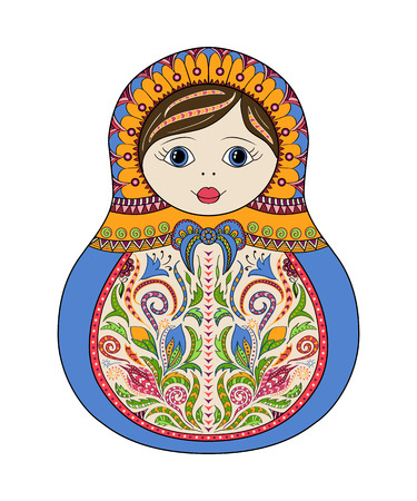 matryoshka: Vector russian folk ornamental matrioshka doll. Hand drawn zentangle with floral and ethnic ornaments. Colored page for relax and meditation
