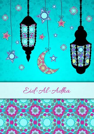 sacrifice: tarjeta de felicitación del vector de Fiesta del Sacrificio (Eid-Al-Adha). fondo de la enhorabuena con el texto y los símbolos musulmanes. formato A4