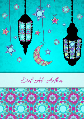 sacrifice: Vector greeting card to Feast of the Sacrifice (Eid-Al-Adha). Congratulations background with text and muslim symbols. A4 format