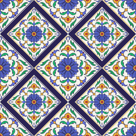 Vector seamless texture. Beautiful colored pattern for design and fashion with decorative elements. Portuguese tiles, Azulejo, Talavera, Moroccan ornaments Ilustração