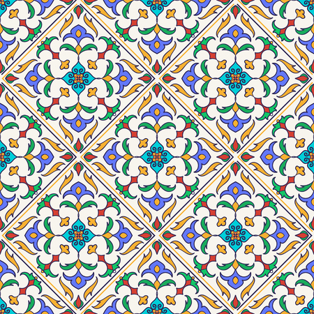 Vector seamless texture. Beautiful colored pattern for design and fashion with decorative elements. Portuguese tiles, Azulejo, Talavera, Moroccan ornaments 矢量图像