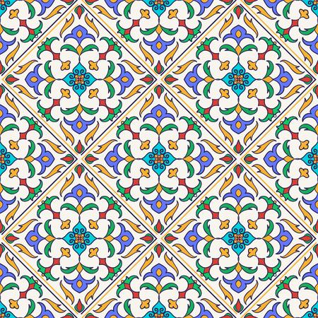 Vector seamless texture. Beautiful colored pattern for design and fashion with decorative elements. Portuguese tiles, Azulejo, Talavera, Moroccan ornaments Vettoriali