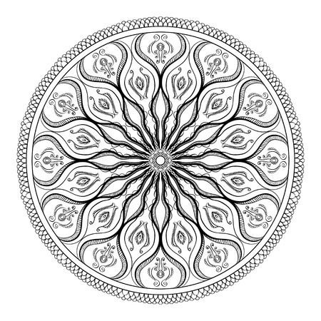 asian adult: Vector coloring book for adult. Page for relax and meditation. Black and white mandala pattern with ethnic indian mehndi ornament. Asian, Indian, Turkish, Ottoman motifs for design and fashion