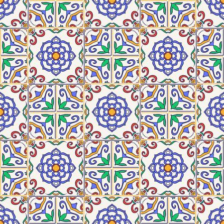 talavera: Vector seamless texture. Beautiful colored pattern for design and fashion with decorative elements. Portuguese tiles, Azulejo, Talavera, Moroccan ornaments Illustration