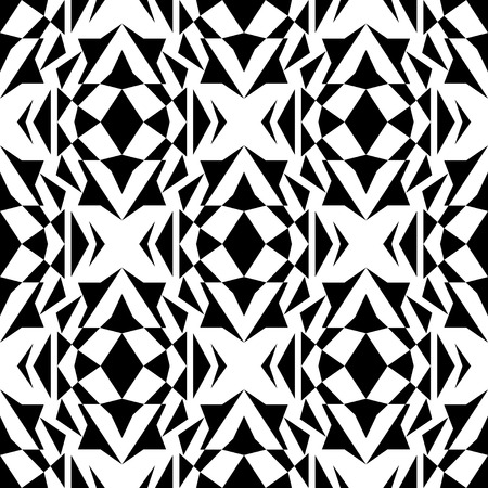 ethno: Vector seamless texture. Black and white tribal geometric pattern. Aztec ornamental style. Ethnic native american indian ornaments