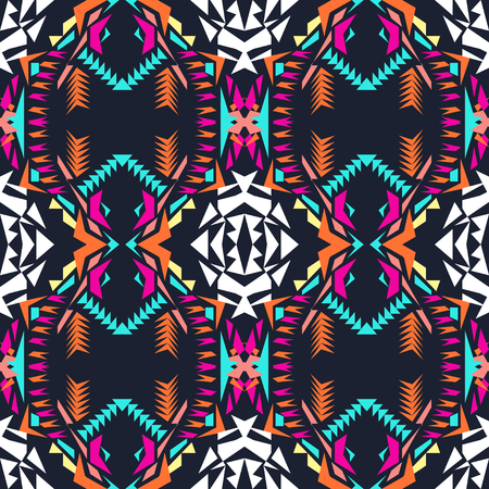 electro: Vector seamless texture. Tribal geometric pattern. Electro boho color trend. Aztec ornamental style. Ethnic native American Indian ornaments