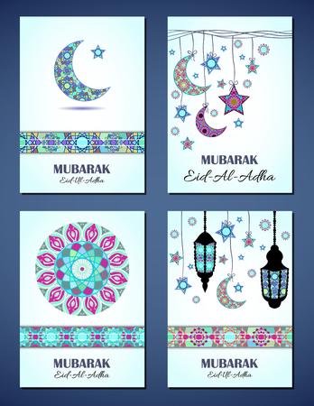 sacrifice: Conjunto de tarjetas de felicitación de vector para Fiesta del Sacrificio (Eid-Al-Adha). fondos de felicitación con el texto, símbolos musulmanes y mandalas patrones de mosaico. formato A4