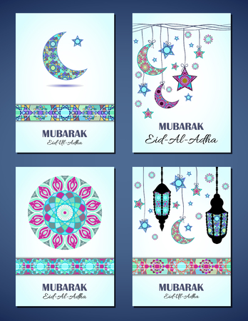 sacrifice: Set of vector greeting cards to Feast of the Sacrifice (Eid-Al-Adha). Congratulations backgrounds with text, muslim symbols and mosaic mandalas patterns. A4 format