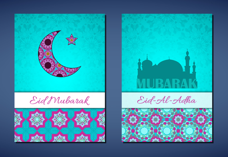 feast: Set of vector greeting cards to Feast of the Sacrifice (Eid-Al-Adha). Congratulations backgrounds with text and muslim symbols. A4 format Illustration