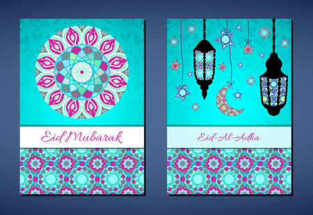 sacrificio: Set of vector greeting cards to Feast of the Sacrifice (Eid-Al-Adha). Congratulations backgrounds with text, muslim symbols and mosaic mandalas patterns. A4 format