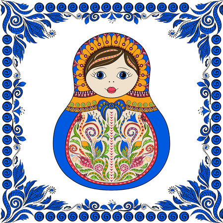 matrioska: Vector russian folk ornamental matrioshka doll. Hand drawn zentangle with floral and ethnic ornaments. Colored page for relax and meditation with flowers frame Illustration