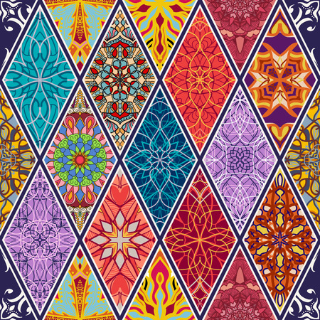 Vector seamless texture. Beautiful mega patchwork mosaic pattern for design and fashion with decorative elements in rhombus. Arabic, oriental, asian, floral motifs
